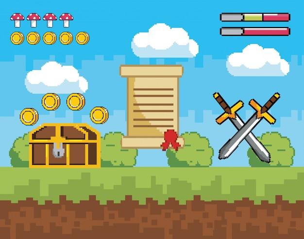 Scena di videogiochi pixelata con scrigno e monete