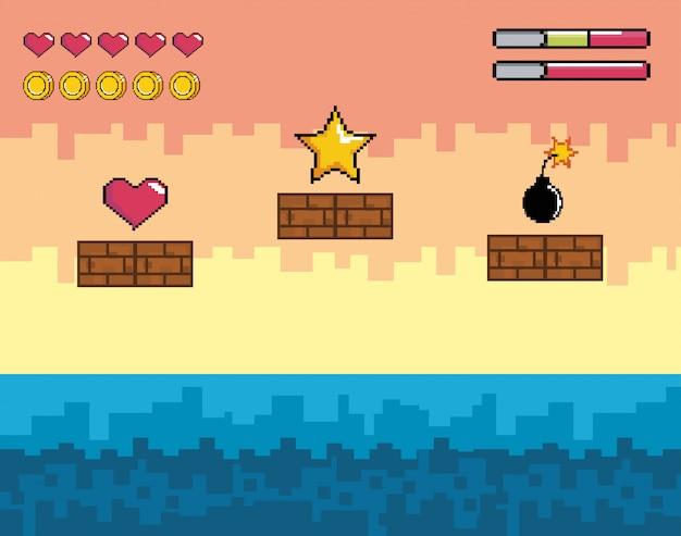 Scena di videogiochi pixelata con stella e cuore con bomba