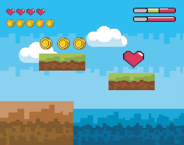 Scena di videogiochi pixelated con monete e cuore