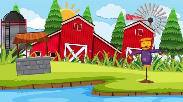 Scena fattoria fienile rosso