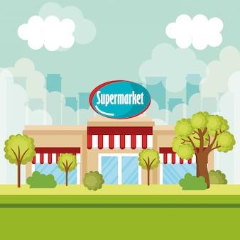 Scena frontale della costruzione del supermercato