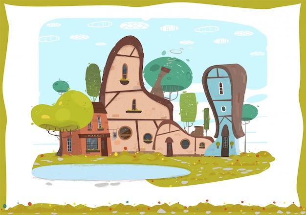 Scena idilliaca del villaggio del mestiere di panorama nel telaio