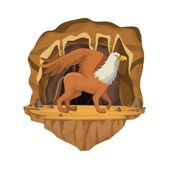 Scena interna della grotta con creatura mitologica greca del griff