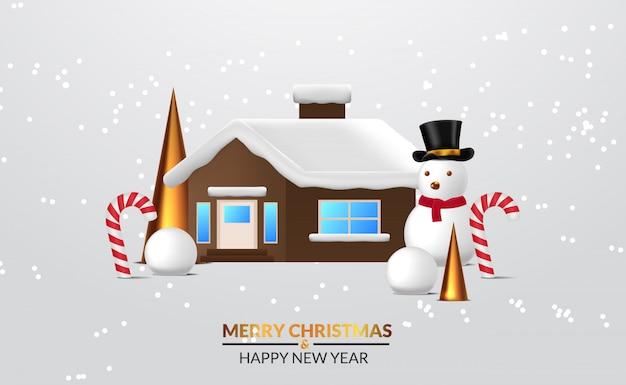 Scena invernale con casa con pupazzo di neve, palla di neve, cono di abete dorato, bastoncino di zucchero. adatto per eventi di natale e felice anno nuovo.