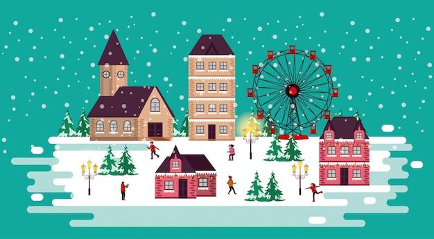 Scena invernale di natale con ruota panoramica e persone