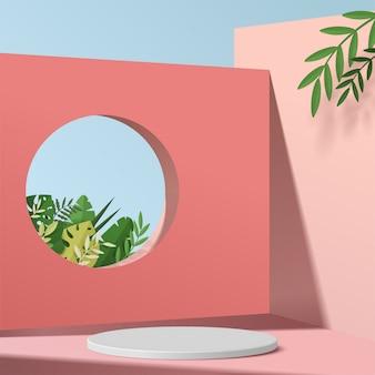 Scena minima astratta con forme geometriche. espositore a podio cilindrico o mockup vetrina per prodotto in sfondo rosa con foglie di carta.