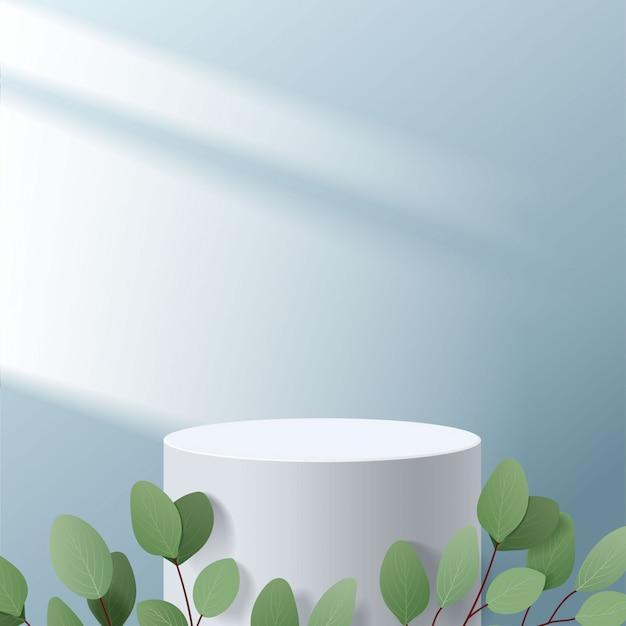Scena minima astratta con forme geometriche. podio bianco cilindro a sfondo blu con foglie. presentazione del prodotto, modello, spettacolo di prodotti cosmetici, podio, piedistallo o piattaforma. 3d