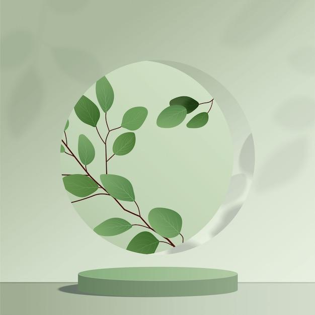 Scena minima astratta con forme geometriche. podio cilindro verde a sfondo verde con foglie. presentazione del prodotto, modello, spettacolo di prodotti cosmetici, podio, piedistallo o piattaforma. 3d