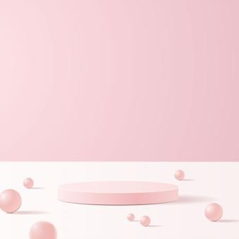 Scena minimale con forme geometriche. podi cilindrici in morbido sfondo rosa con palline. scena per mostrare prodotti cosmetici, vetrina, vetrina, vetrina. .