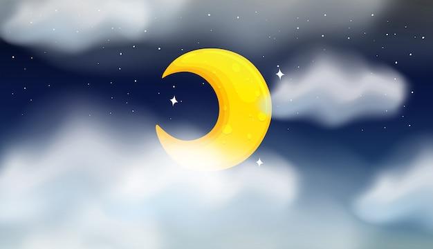 Scena notturna della luna cresente