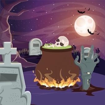 Scena oscura di halloween con calderone della strega