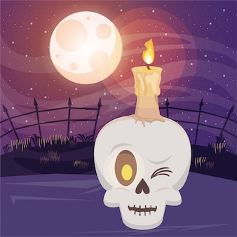 Scena oscura di halloween con testa di teschio