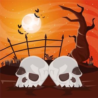 Scena oscura di halloween con teste di teschi