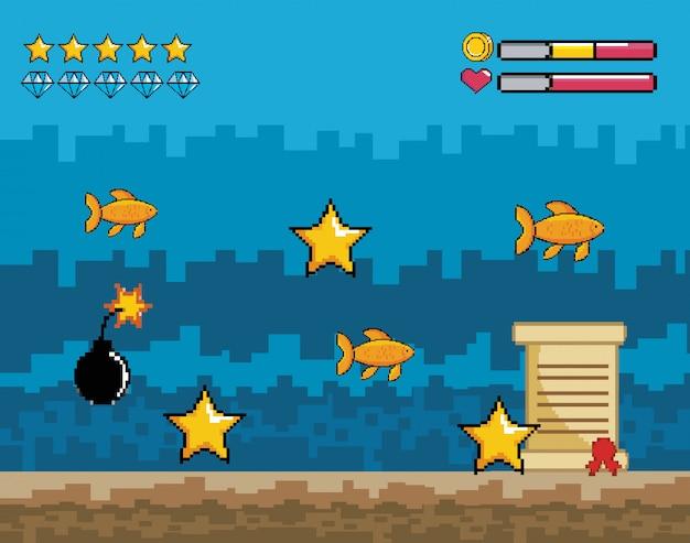 Scena overwater di videogiochi pixelated con barre di vita di stelle e cuori