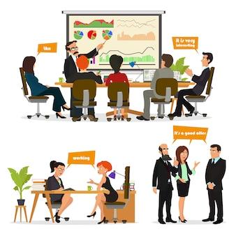 Scena personaggi commerciali. incontro di lavoro in ufficio. studio e discussione di idee.