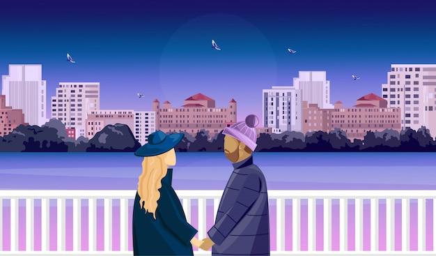 Scena romantica di una coppia matura sul ponte che prepara baciare