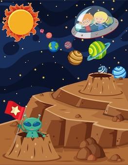 Scena spaziale con i bambini che cavalcano in astronave