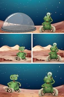 Scena spaziale robot aliena
