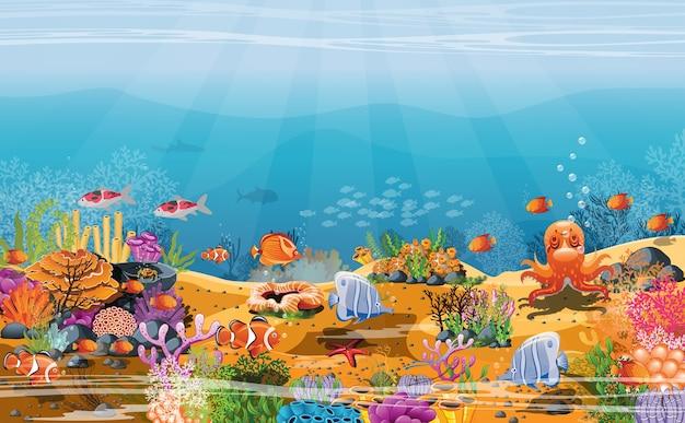 Scena subacquea con pesci sabbia e scogliera