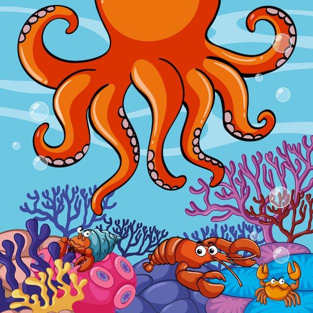 Scena subacquea con polpi e granchi giganti