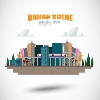 Scena urbana con sky train