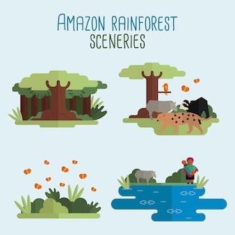 Scenari della foresta pluviale amazzonica