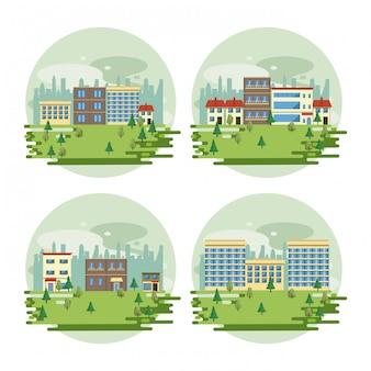 Scenari di vista del paesaggio urbano degli edifici urbani