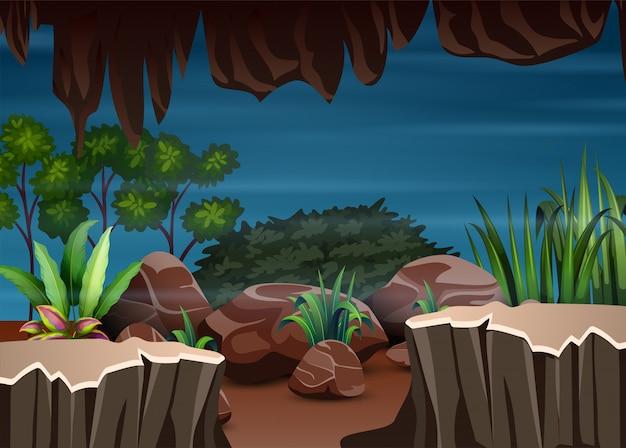 Scenario della natura vista dall'interno della grotta