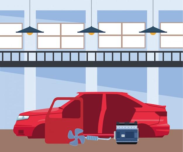 Scenario di officina riparazioni auto con parti di automobili e carrozzeria