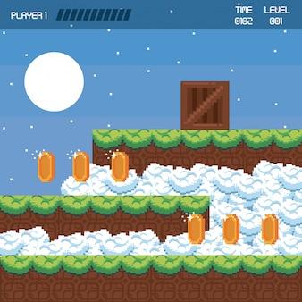 Scenario di videogame di paesaggi pixellati