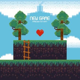 Scenario di videogiochi retrò con terreno pixelato