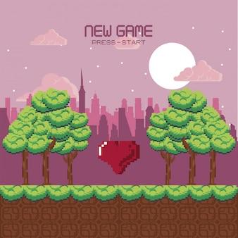 Scenario di videogiochi urbano pixel