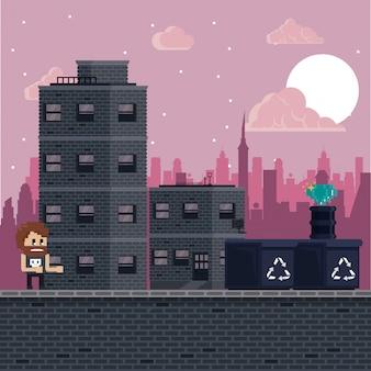 Scenario di videogiochi urbano pixellato per la lotta