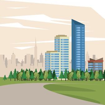 Scenario di vista di paesaggio urbano delle costruzioni urbane