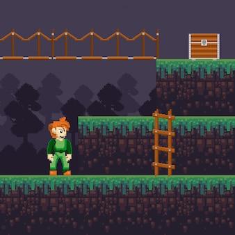 Scenario pixelato di videogiochi retrò