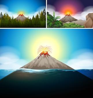 Scene con il vulcano nella foresta e nell'oceano