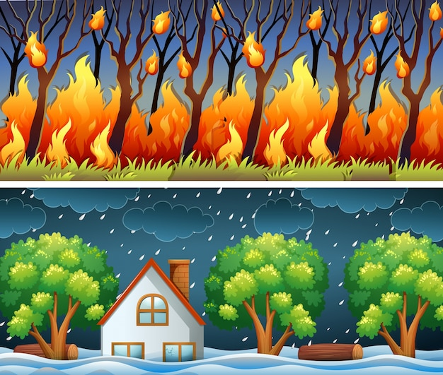 Scene con incendi boschivi e la tempesta