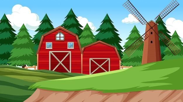 Scene di ambiente naturale paesaggio con fattoria