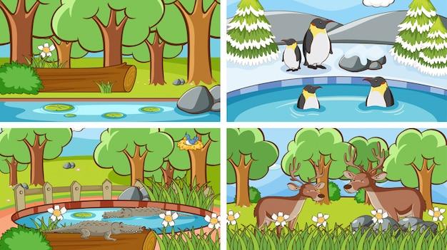 Scene di animali nell'illustrazione selvaggia