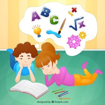 Scene di bambini che imparano