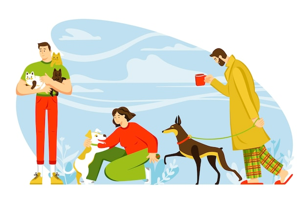 Scene di design piatto ogni giorno con il concetto di animali domestici