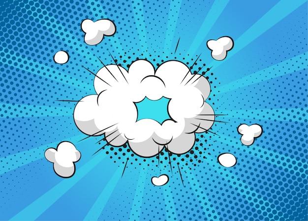 Scene di dialogo bolla fumetto supereroe su sfondo colorato. pagina dell'album divertente fumetti con nuvola e nuvoletta. comic layout di pagina. simboli ed effetti sonori.