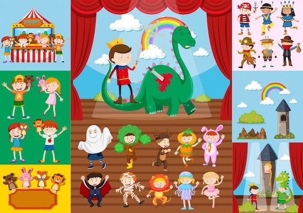 Scene di drammi per bambini e scuola