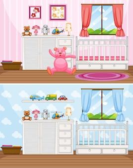 Scene di due camere da letto con letti bianchi