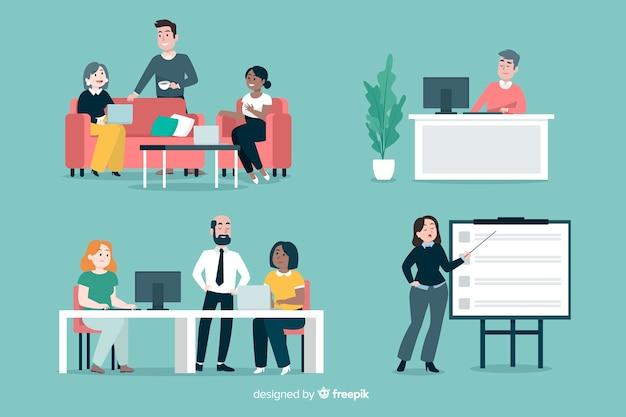 Scene di gente piatta in ufficio