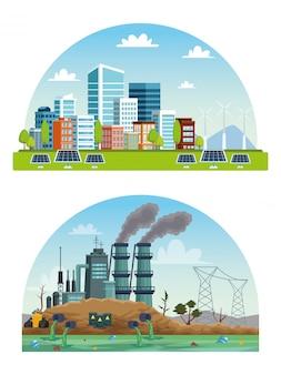 Scene di inquinamento di città e industria ecologiche