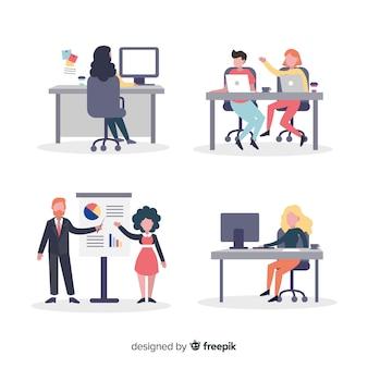 Scene di persone piatte alla raccolta dell'ufficio