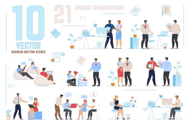 Scene di riunioni di lavoro impostate con personaggi unici