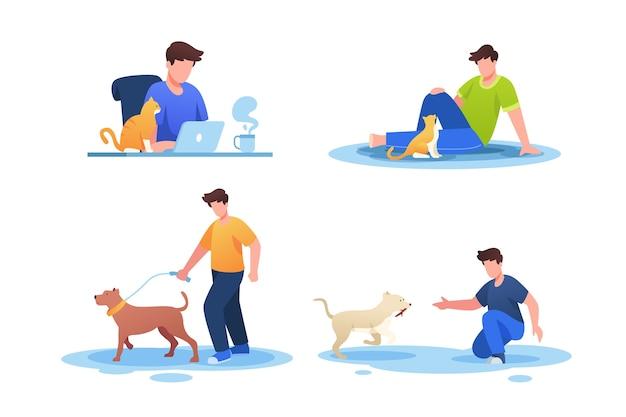 Scene di tutti i giorni con pacchetto di animali domestici