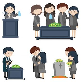 Scene diverse al funerale